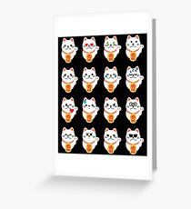 Fortune Cat Emoji Different Face Expression Greeting Card