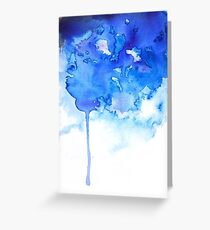 Blue Watercolor Paint Drips Greeting Card