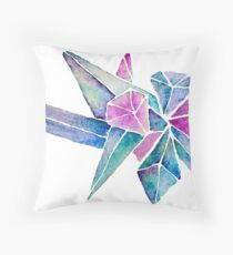 Watercolor Crystal Aura Cluster Throw Pillow