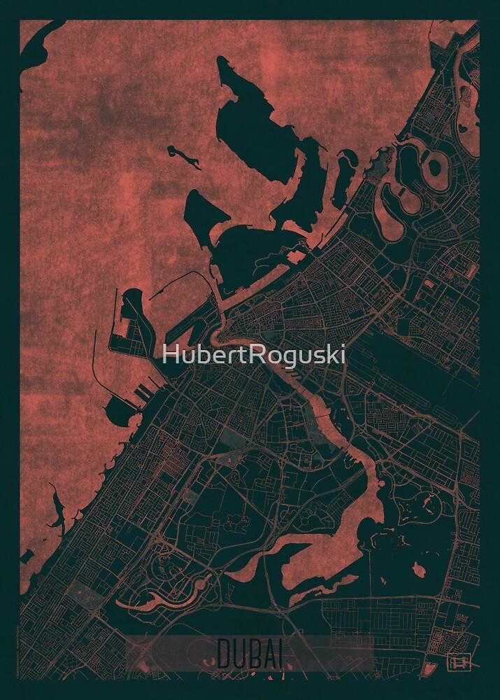 Dubai Map Red by HubertRoguski