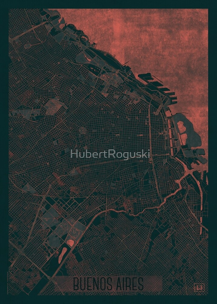 Buenos Aires Map Red by HubertRoguski