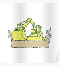 Mechanical Digger Excavator Ribbon Scroll Drawing Poster