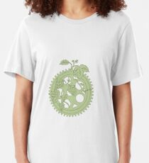 Weinlese-einzelne Ring-Kurbel-Hopfen-Zeichnung Slim Fit T-Shirt