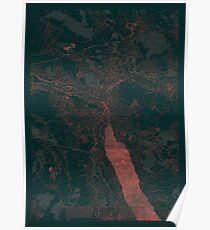 Zurich Map Red Poster