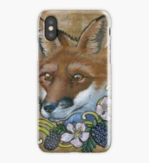 Neotraditional Fox with Blackberries  iPhone Case/Skin