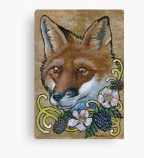 Neotraditional Fox with Blackberries  Canvas Print