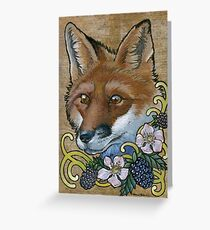 Neotraditional Fox with Blackberries  Greeting Card