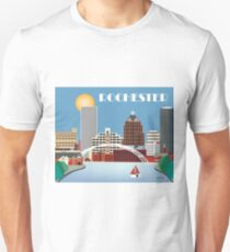 Rochester, New York - Skyline Illustration by Loose Petals Unisex T-Shirt