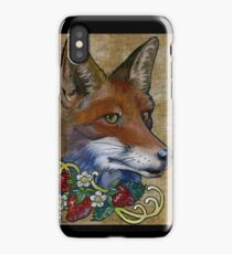 Neotraditional Fox with Strawberries iPhone Case/Skin
