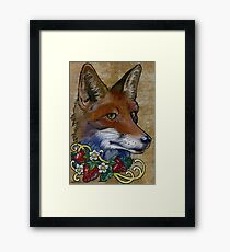 Neotraditional Fox with Strawberries Framed Print