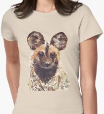 African Wild Dog Womens Fitted T-Shirt