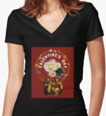 Beautiful Vintage Musical and Floral Design for Valentine's Day Women's Fitted V-Neck T-Shirt