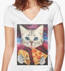Galaxy Katze Tailliertes T-Shirt mit V-Ausschnitt