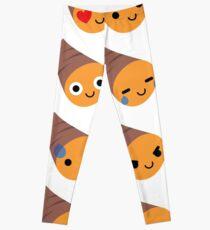 Sweet Potato Emoji Different Facial Expression Leggings