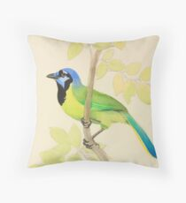 Colorful Green Jay with Foliage Throw Pillow