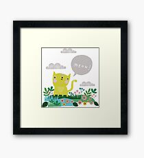 Cat and speech bubble Framed Print