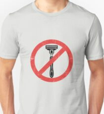 Beard Only - No Shaving Allowed Epic Beards Distressed Design Slim Fit T-Shirt
