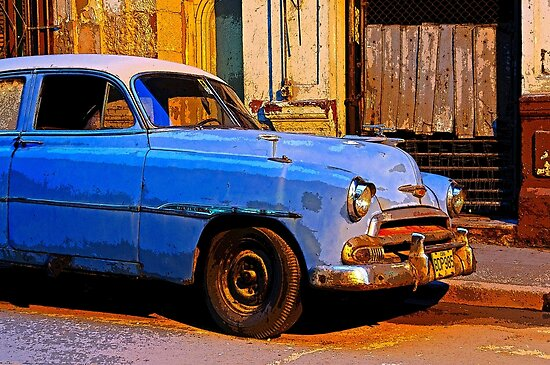 Blue Chevy at Dawn, Havana, Cuba by David Carton