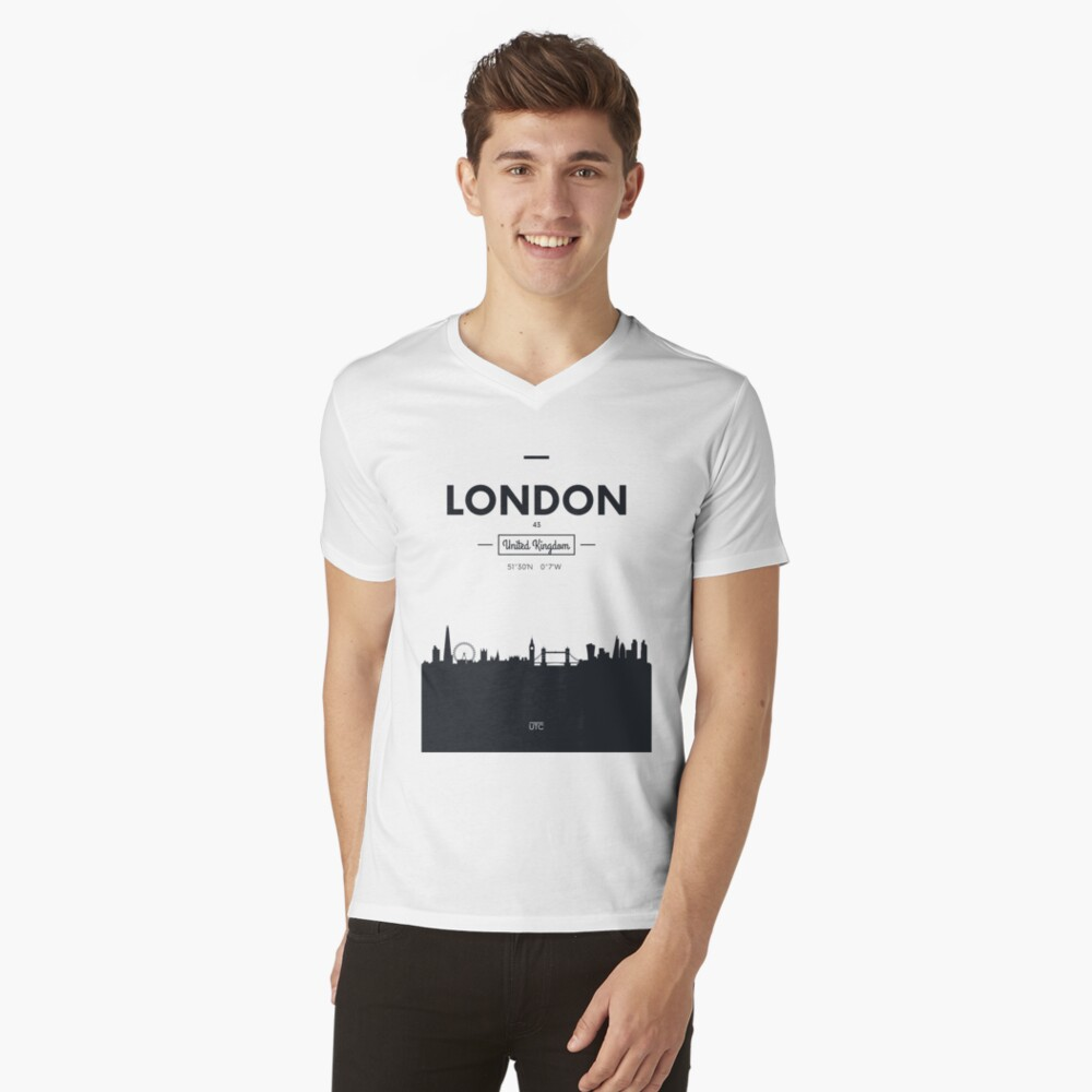 Skyline der Stadt London T-Shirt mit V-Ausschnitt
