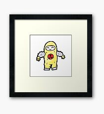 cartoon man in protective suit Framed Print