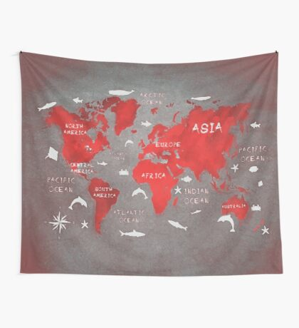 world map 48 red Wall Tapestry