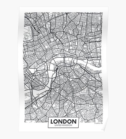 Vector poster map city London Poster