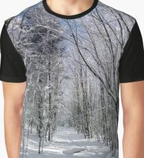 Winter forest with frozen trees majestic view. Winter in nature. Picturesque and gorgeous wintry scene. Alsace, France Graphic T-Shirt