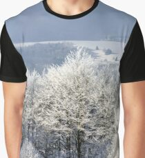 Aerial winter mountains panoramic view. Picturesque and gorgeous wintry scene. Alsace, France. Ski resort. Frozen trees. Graphic T-Shirt