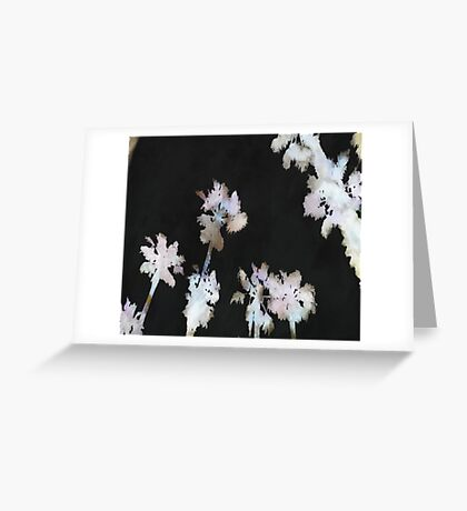 Tropical Palms On Black Background Greeting Card