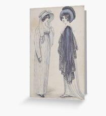 Early 1800s vintage ladies, 1808 Greeting Card