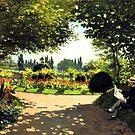 Adolphe Monet Lesung im Garten von Monet von GalleryGreats