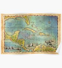 Caribbean Pirate + Treasure Map 1660 Poster