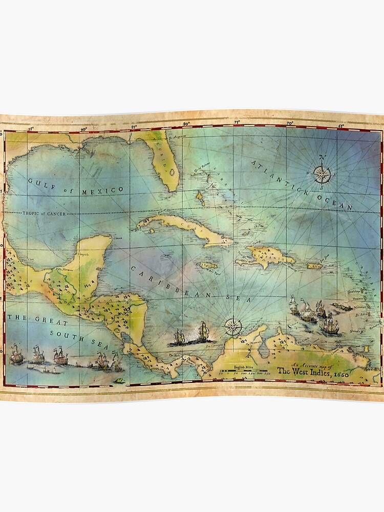 Caribbean Pirate + Treasure Map 1660 | Poster on a map of life, a map of love, a map of home, a map of cascade, a map of roosevelt, a map of jupiter, a map of sahara, a map of time, a map of ocean, a map of odyssey,