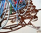 It's a Party - bicycle shadow painting by LindaAppleArt