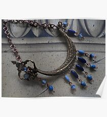 Blue Beaded Ship - Wall Jewellery Poster