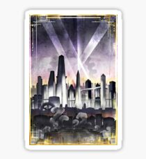 Art Deco Metropolis - Steampunk Vintage City Skyline Sticker