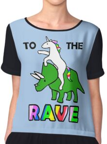 To The Rave! (Unicorn Riding Triceratops) Chiffon Top