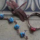 Glass Bead Bracelets and Dragonfly Pin  by Marie Van Schie