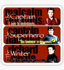 The Captain, The Superhero, and The Writer Quotes Sticker
