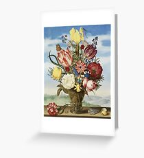 Ambrosius Bosschaert The Elder - Bouquet Of Flowers On A Ledge Greeting Card