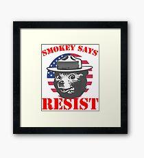 SMOKEY SAYS RESIST Framed Print