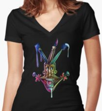 Manic artistic joy Women's Fitted V-Neck T-Shirt