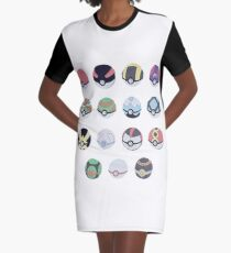 Pokemon Balls Graphic T-Shirt Dress
