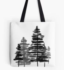Winter Woods - Black and White Hand-Painted Design Tote Bag