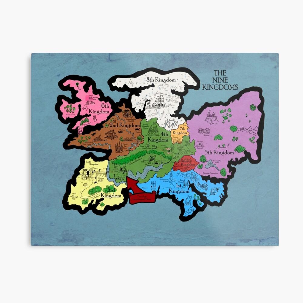 Karte der Neun Königreiche Metallbild