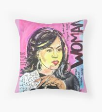 Michelle Obama- I am Woman Throw Pillow
