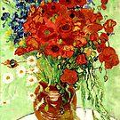 Vase mit Gänseblümchen und Mohnblumen von Van Gogh von GalleryGreats