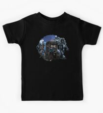 time and space traveller lost in the cyborg war zone Kids Tee