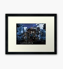 time and space traveller lost in the cyborg war zone Framed Print