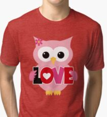 Adorable Valentine Owl Tri-blend T-Shirt